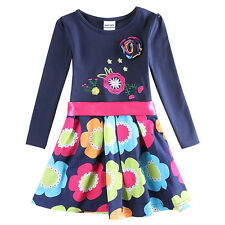 Girls Spring Fall Dress Cotton Long Sleeve Knee-Length Flower Blue Novatx 2T-6