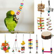 Pet Bird Parrot Parakeet Cockatiel Cockatoo Conure Swing Cage Toy Chew Bites New