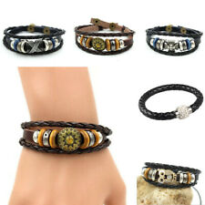Chic Rock Unisex Genuine Leather Braided Charm Bracelet Wristband Brown Black