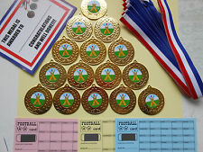 CRICKET- 50 MM METAL MEDALS WITH RIBBON/SET= 15 WITH CERTIFICATES/SCRATCH CARDS