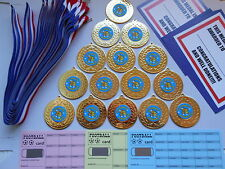 OUTSTANDING ACHV- 50 MM METAL MEDALS+ RIBBON X 15 -+ C/TFS'S AND SCRATCH CARDS