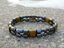Men's Women's Magnetic BLACK & TIGER EYE Hematite Bracelet Anklet 2 row Strong