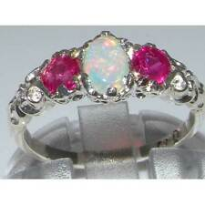 Ladies Solid Sterling Silver Natural Opal & Ruby English Victorian Trilogy Ring