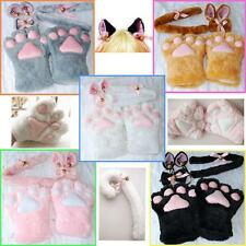Set Halloween Plush Tail Bow-tie Cosplay Costume Cat Ears Paw Claw Gloves