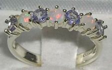 High Quality Solid Sterling Silver Natural Fiery Opal & Tanzanite Eternity Ring