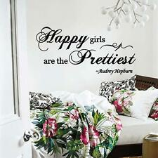 Wall Decal Audrey Hepburn Quote Happy Girls are the Prettiest Vinyl Decor