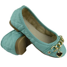 Kids Ballet Flats Quilted Gold Heart Accent Casual Slip On Shoes Blue SZ 10