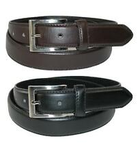 New CTM Men's Big & Tall Leather Dress Belt with Silver Buckle (Pack of 2)