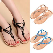 Womens Summer Bohemia Buckle Flats Shoes Beach Sandals Thong Slippers Flip Flops