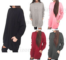 Womens Side Pockets Ladies Oversized Baggy Loose Fit Sweatshirt Top Tunic Dress