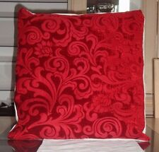 RUBY RED CHENILLE DESIGN CUSHION COVER