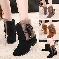 Womens Winter Warm Fur Lined Shoes Suede Booties Knitting Wedge Snow Ankle Boots