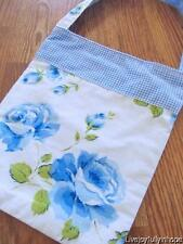 Shabby Cottage Chic! ~ New Super Sweet! Blue Cabbage Roses Bucket Purse Bag Tote
