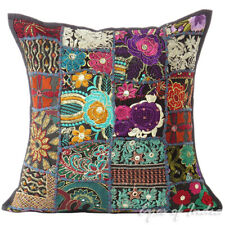 "16"" Black Patchwork Decorative Throw Pillow Cover Cushion Sofa Bohemian Boho Ind"