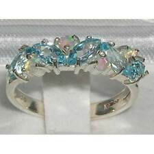Unusual Solid Sterling Silver Natural Fiery Opal Blue Topaz Eternity Band Ring