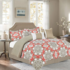 NEW Full Queen King Bed Coral Tan White Damask Medallion 7 pc Comforter Set NWT