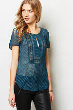 Anthropologie Grassland Blouse Size M, Turquoise Sheer Top By Meadow Rue