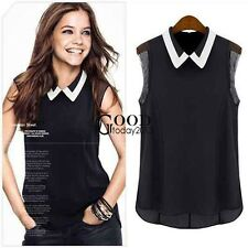 Women Casual Loose Chiffon Sleeveless Blouse Doll Neck Vest Tank Top Cami TXGT