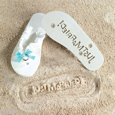 JUST MARRIED Imprint Flip Flops Bridal Shower Gift Beach Wedding Bride Honeymoon