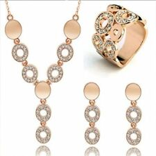 Pendant 3pcs Necklace Ring Earrings Party Wedding Jewelry Set 18K Gold Plated