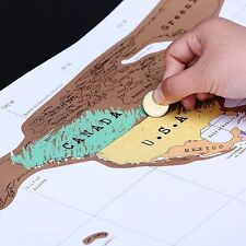 Deluxe Travel Scratch Off World Map Poster Personalized Journal Log Gift New B8
