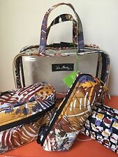 NWT Vera Bradley Painted Feathers 4PC Cosmetic Makeup Organizer Case Travel Set