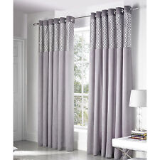 Diamond Check Velvet Eyelet Curtains Faux Silk Ring Top Silver Grey Curtain Pair