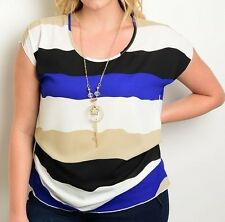 Colorblock Stripe Top Cap Sleeve Tunic Fashion Blouse (Plus) Y-Necklace Included