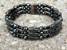 Mens Womans Triple Magnetic Hematite Black Crystal Bracelet Anklet 3 row Healing