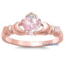 Sterling Silver 925 IRISH HEART SHAPED CLADDAGH DESIGN PINK CZ RING SIZES 4-10