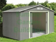 METAL SHED - GARDEN STORAGE - GALVANIZED STEEL, APEX ROOF, FREE FOUNDATION RAILS