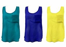 1s Womens High Low Sleeveless Chiffon Front Pocket Ladies Vest Top Blouse 8-14