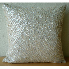 Beige Cotton Linen 40x40 cm Allover Mother Of Pearl Cushion Cover- Glazed Pearls