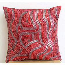 Red Sequins And Beaded 35x35 cm Silk Cushioncase - Red Love