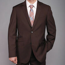 Bertolini Classic Fit Brown Two Button Two Piece Suit Wool & Silk