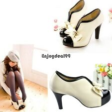 Women Beige Sexy High Heel Tie Platform Bow Pump Fashion Ankle Shoes Boots OO55