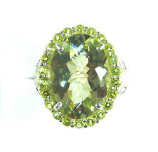 11.54ct Genuine Light Green Amethyst & Peridot 925 Sterling Silver Cocktail Ring