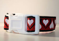 Hearts dog collar small puppy blue white red pink patterned handmade unique