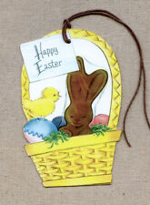 Hang Tags RETRO CHOCOLATE BUNNY & EGGS IN BASKET EASTER TAGS #288 Gift Tags