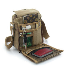 Men's School Military Shoulder Bag Vintage Canvas Leather Satchel Messenger Bag