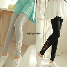 Womens Lace Cotton Skinny Elastic Leggings Pencil Pants Trousers Jeggings OO55