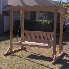 NEW ALL CEDAR GARDEN ARBOR & 6 FOOT PORCH SWING STAND HEAVY DUTY CHAIN & SPRINGS