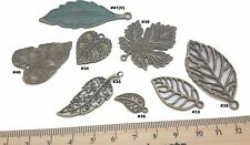 Leaves Antique Bronze Verdigris Patina Alloy Charms Vintage Mixed Media