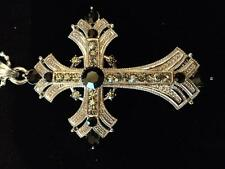 Clear and Black Austrian Crystal Cross Necklace Sparkly Fashion Jewelry