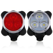 Bicycle Bike 3 LED 4 Modes Head Front Rear Tail Light Lamp USB Rechargeable SA