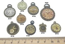 Clocks Antique Bronze Verdigris Patina Alloy Charms Vintage Mixed Media