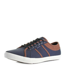 Mens Jack and Jones Ross Canvas Navy Blazer Casual Plimsole Trainers Shu Size