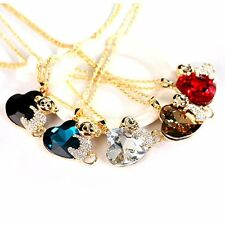 Women Trendy Monkey and Heart Shaped Rhinestone + Alloy Sweater Necklaces LN