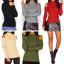 Womens Knit Jumper Crop Pullover Sweater Top Outerwear Cold Shoulder New F8O1