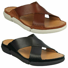 MENS CLARKS TRISAND CROSS SLIP ON LEATHER BEACH SHOES MULE CASUAL SUMMER SANDALS